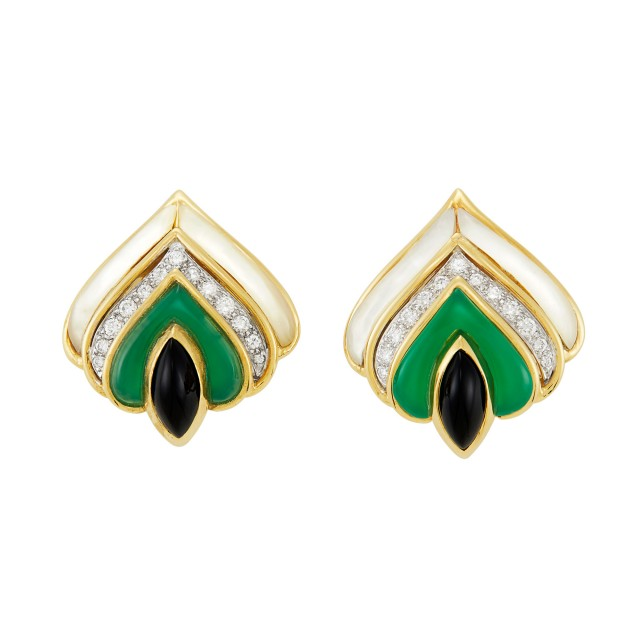 Pair of Gold, Mother-of-Pearl, Green and Black Onyx and Diamond Earclips