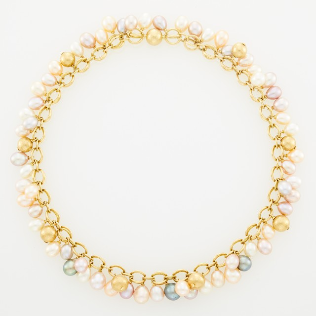 Gold and Multicolored Freshwater Pearl Necklace