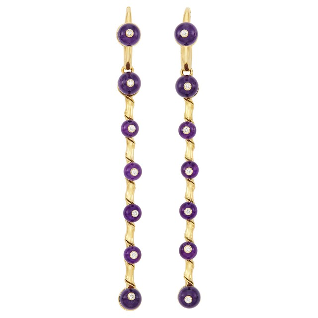Pair of Gold, Amethyst Bead and Diamond Pendant-Earrings, Aletto Brothers