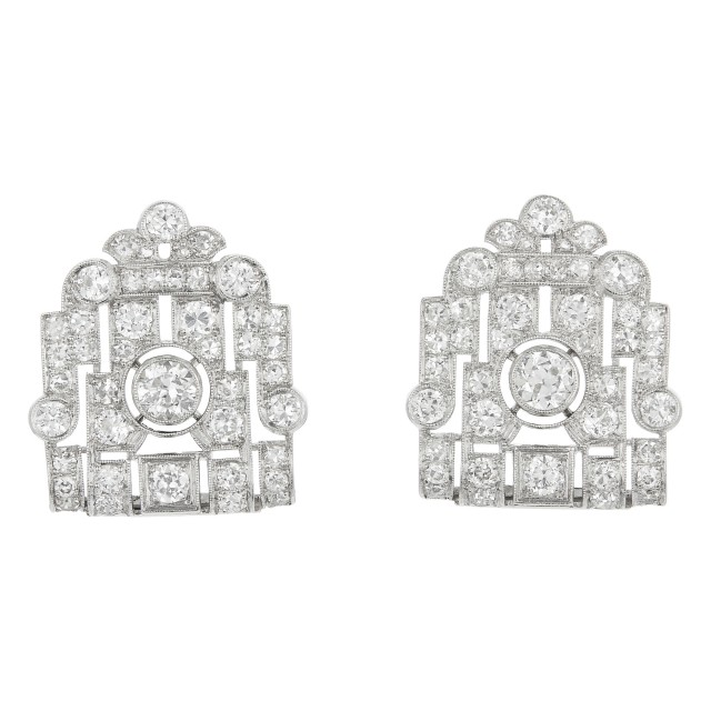 Pair of Art Deco Platinum and Diamond Earrings