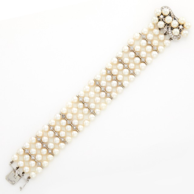 Four Strand Cultured Pearl, Diamond and White Gold Bracelet