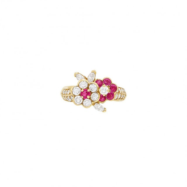Gold, Ruby and Diamond Flower Ring, Van Cleef and Arpels, France