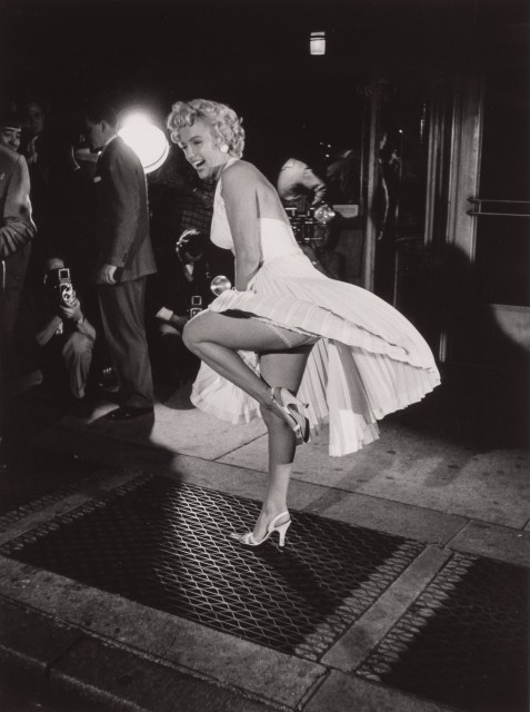 "ZIMBEL, GEORGE (b. 1929)  Marilyn Monroe on the set of ""The Seven Year Itch"", 1954."