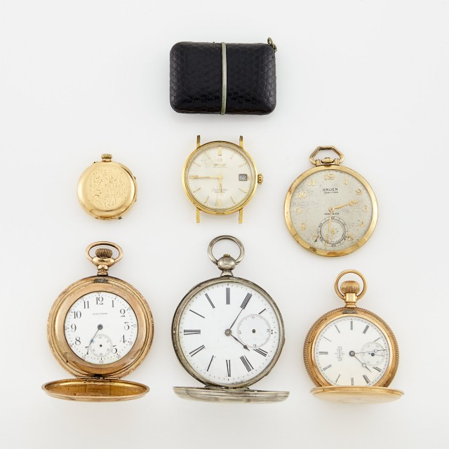 Ermeto Watch and Group of Pocket Watches