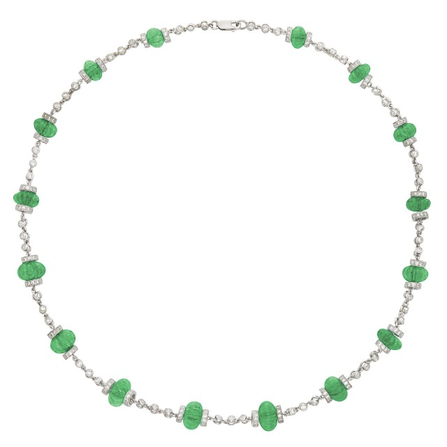 Platinum, Carved Emerald Bead and Diamond Chain Necklace