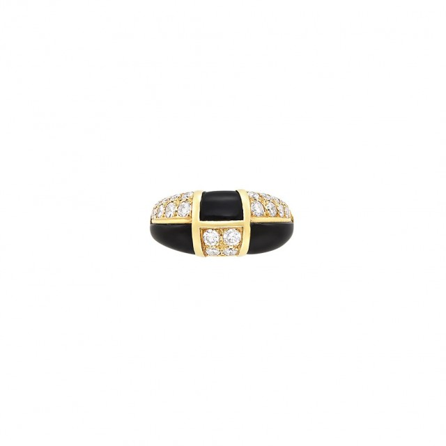 Gold, Black Onyx and Diamond Bombé Ring, Van Cleef and Arpels, France