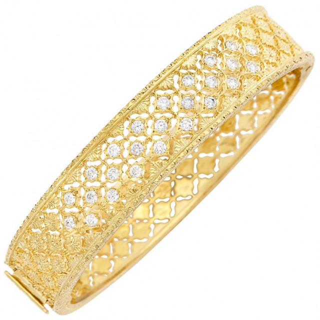 Gold-Plated White Gold and Diamond Bangle Bracelet