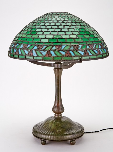 American Patinated Metal and Leaded Glass Geometric and Leaf and Berries Table Lamp