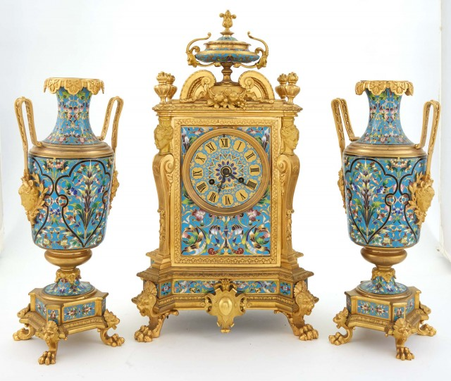 French Three-Piece Champlevé Enamel and Gilt-Bronze Clock Garniture