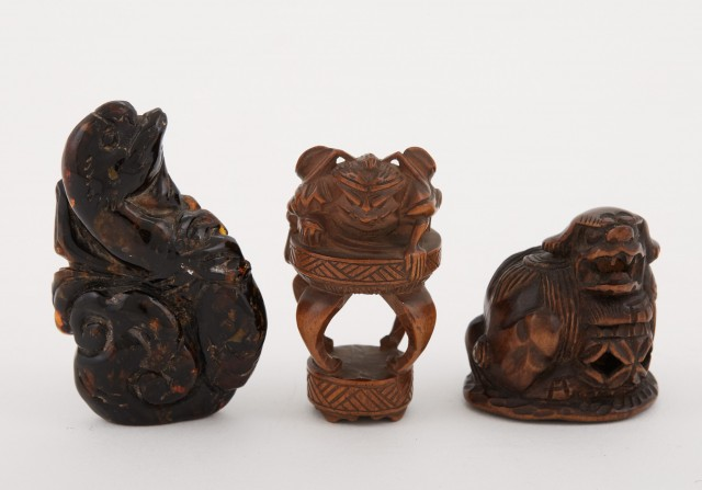Two Japanese Boxwood Netsuke