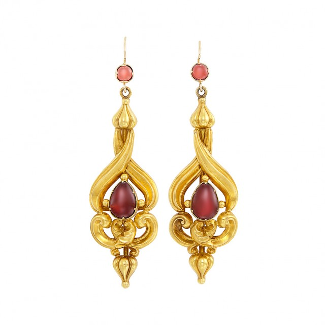 Pair of Antique Gold and Cabochon Garnet Pendant-Earrings
