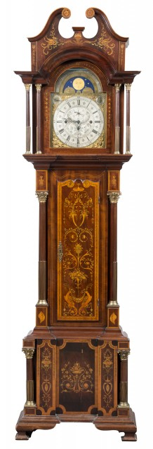George III Style Mahogany and Marquetry Brass-Mounted Tall Case Clock