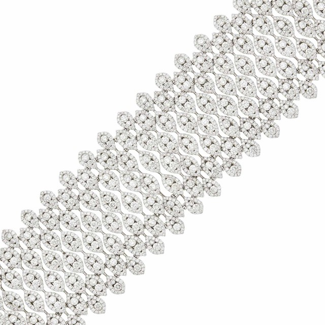 Wide White Gold and Diamond Bracelet