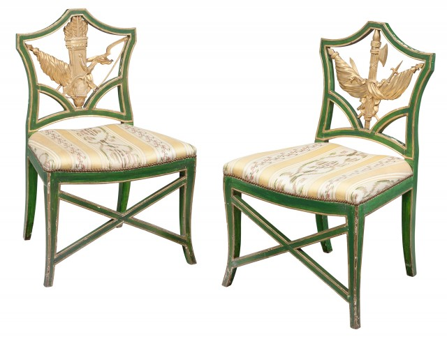 Pair of Continental Neoclassical Painted and Parcel-Gilt Side Chairs