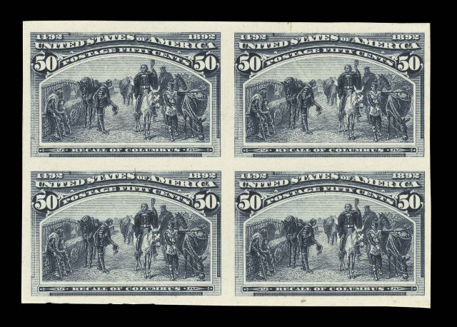 United States 1893 50 Cent Columbian Proof Block of Four, Sc. 240-P4