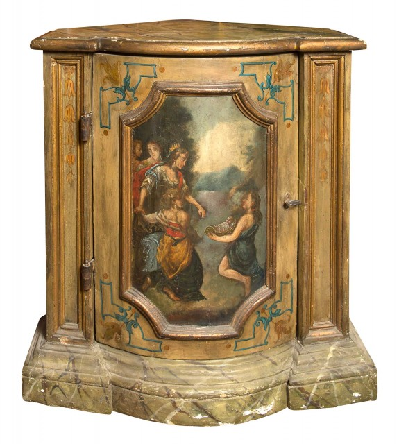 Set of Four Baroque Style Painted and Marbleized Corner Cabinets