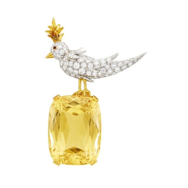Tiffany and Co., Schlumberger Gold, Platinum, Citrine, Diamond and Cabochon Ruby 'Bird on a Rock' Brooch