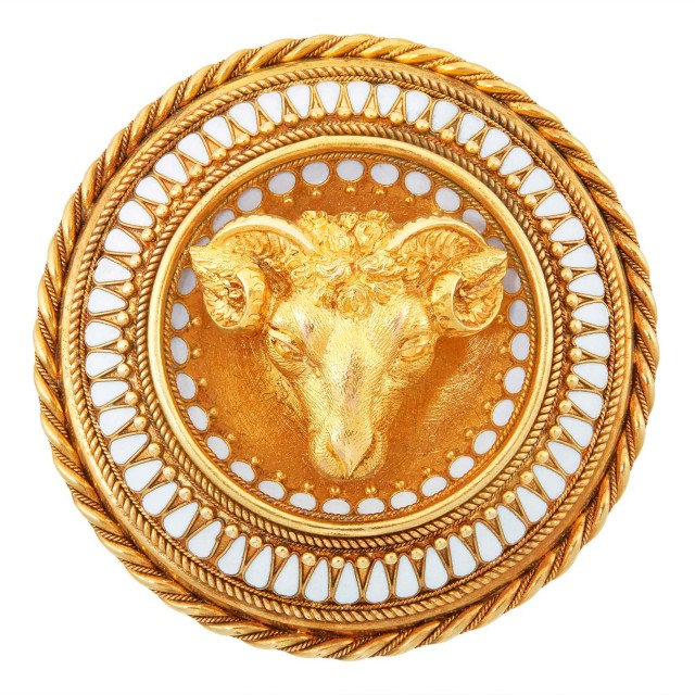 Archaeological Revival Gold and White Enamel Ram's Head Brooch