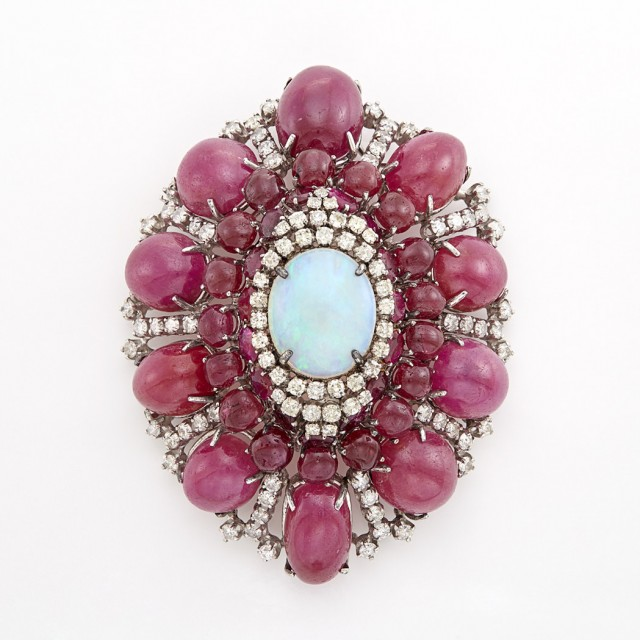 White Gold, Opal, Cabochon Ruby and Diamond Brooch