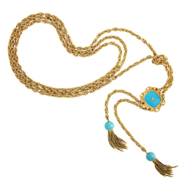 Gold and Turquoise Lariat Pendant-Watch Necklace, Piaget