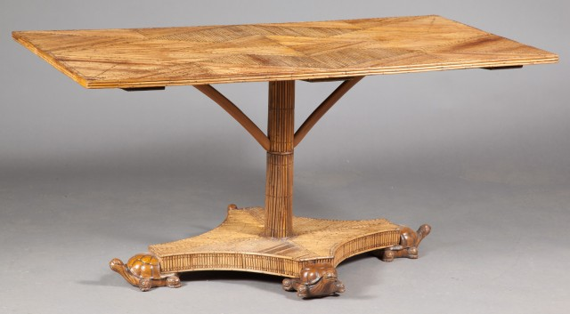 Rattan Center Table with Carved Turtle Feet