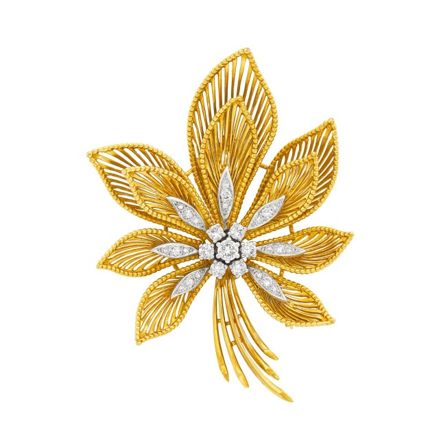 Two-Color Gold and Diamond Flower Clip-Brooch