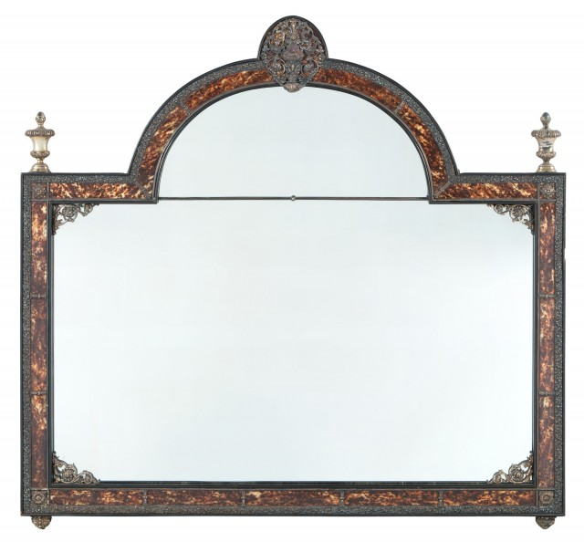 Queen Anne Style Gilt-Metal-Mounted Faux Tortoiseshell Overmantel Mirror