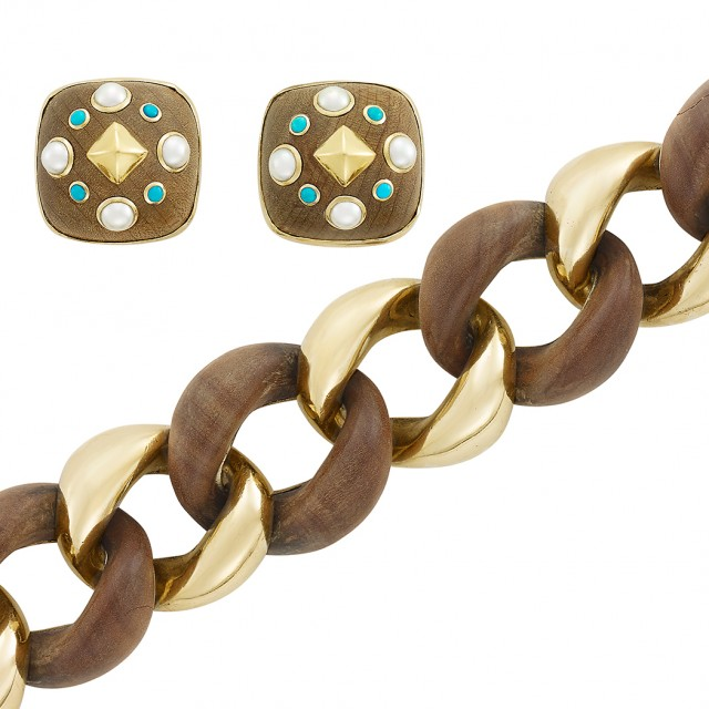 Gold and Wood Curb Link Bracelet, Aldo Del Noce, and Pair of Gold, Wood, Turquoise and Cultured Pearl Earclips, Trianon