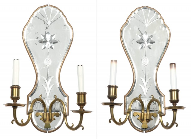 Pair of George I Style Mirrored Giltwood Two-Light Wall Lights