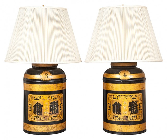 Pair of Gilt Decorated Black Painted Tôle Tea Canisters