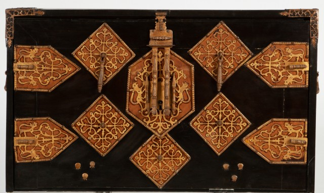 Spanish Ebonized, Polychrome-Painted, Parcel-Gilt, Bone-Inlaid and Gilt-Metal Mounted Vargueño