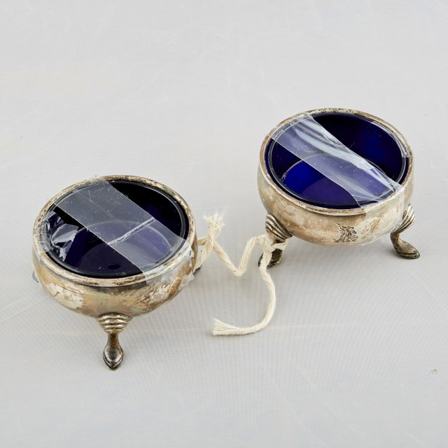 2 Silver Plated Bowls with glass inserts