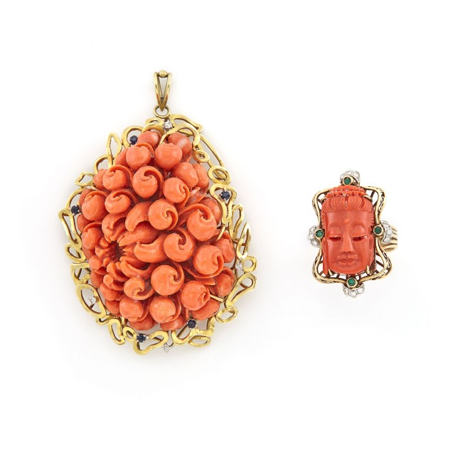 Gold, Carved Coral and Diamond Ring and Pendant