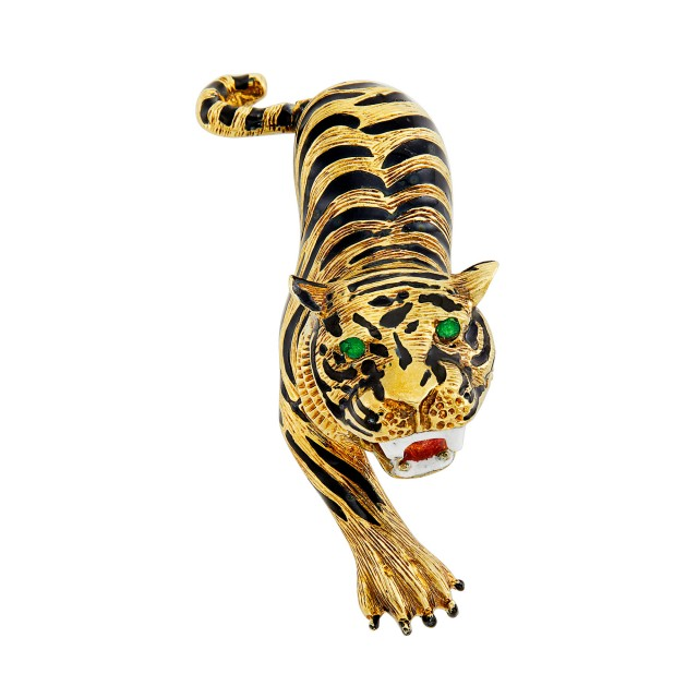 Gold and Multicolored Enamel Tiger Clip-Brooch, Martine