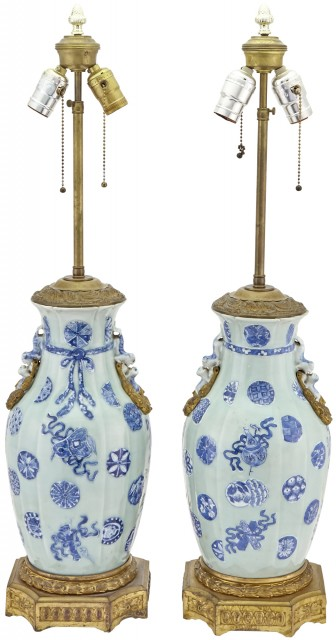 Pair of Chinese Slip-Decorated, Ormolu Mounted Porcelain Vases Mounted as Lamps