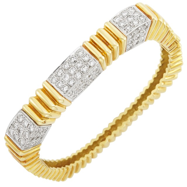 Two-Color Gold and Diamond Bangle Bracelet