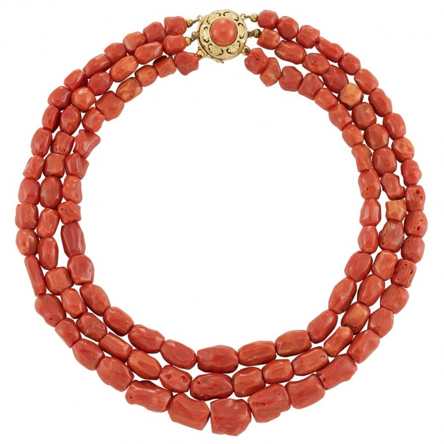 Triple Strand Coral Bead Necklace