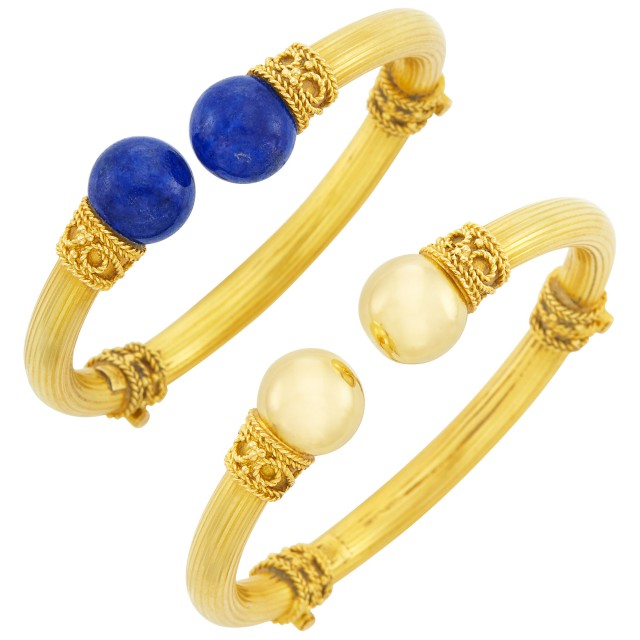 Pair of Gold and Lapis Bangle Bracelets