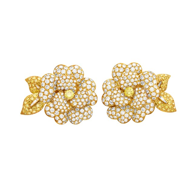 Van Cleef and Arpels Pair of Gold, Colored Diamond and Diamond Flower Earclips