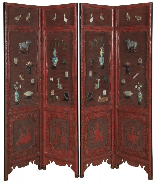 A Chinese Jade and Cloisonné Embellished Four Panel Cinnabar Lacquer Screen