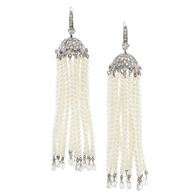 Pair of Blackened White Gold, Diamond and Seed Pearl Fringe Pendant-Earrings