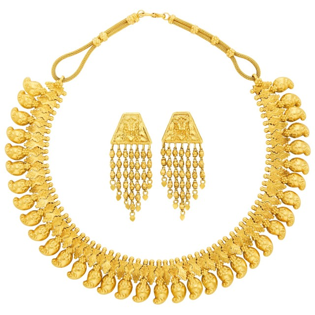 High Karat Gold Necklace and Pair of Gold Fringe Earrings