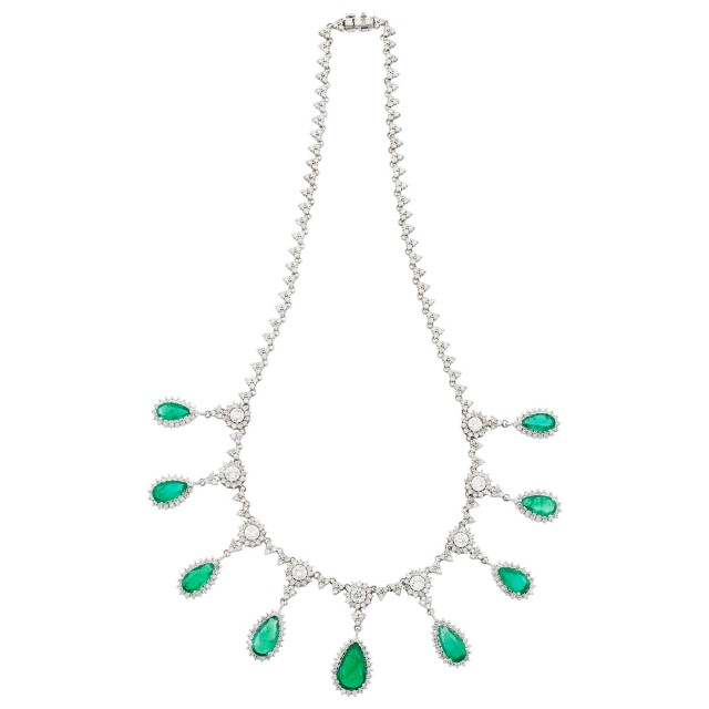 White Gold, Emerald and Diamond Necklace
