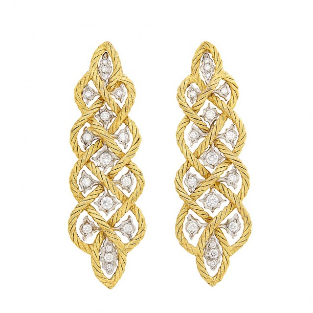 Pair of Two-Color Gold and Diamond Pendant-Earrings, Buccellati