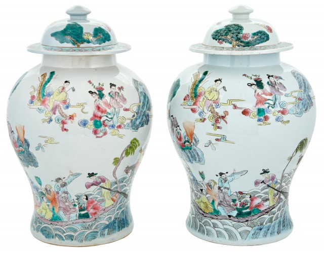 Close Pair of Chinese Polychrome Decorated Porcelain Jars