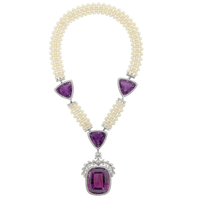 White Gold, Amethyst, Cultured Pearl and Diamond Pendant-Necklace