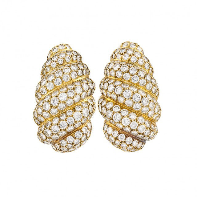 Pair of Gold and Diamond Bombé Earrings