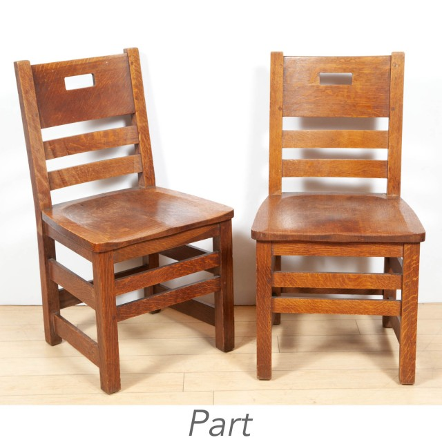 Set of Four Charles P. Limbert and Co. Arts and Crafts Oak Side Chairs