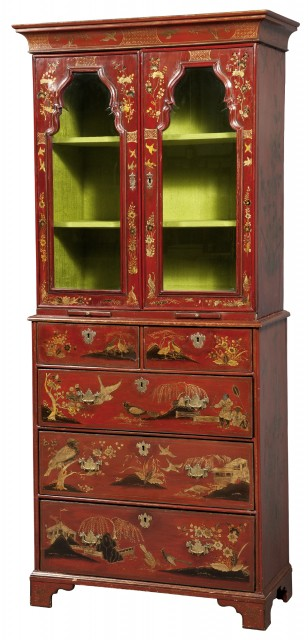 Queen Anne Red-Japanned and Parcel-Gilt Cabinet on Chest