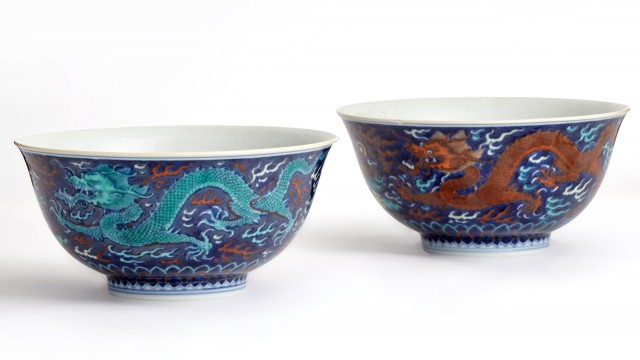 A Pair of Imperial Chinese Porcelain 'Dragon' Bowls
